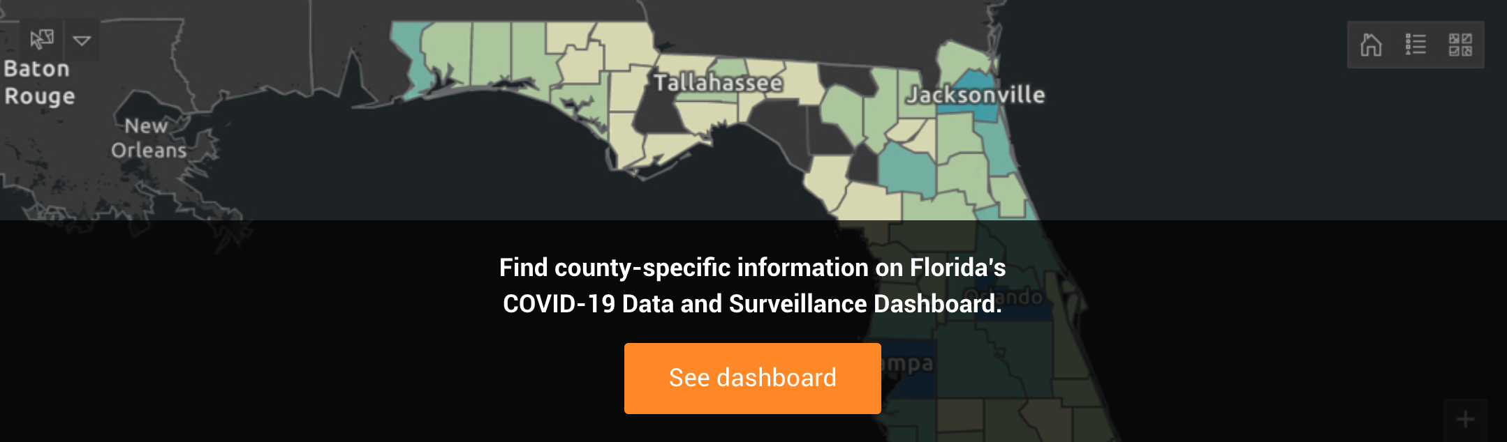 Find county-specific information on Florida's COVID-19 Data and Surveillance Dashboard